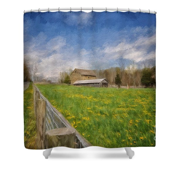 Stone Barn On A Spring Morning Shower Curtain