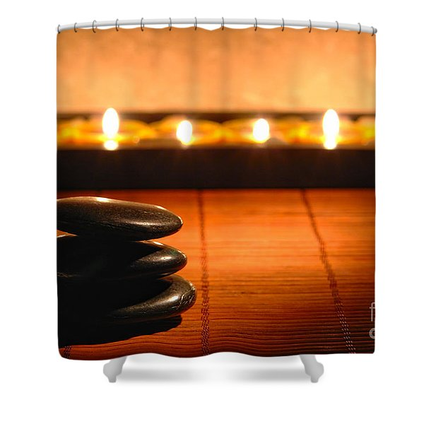 Stone Cairn And Candles For Quiet Meditation Shower Curtain