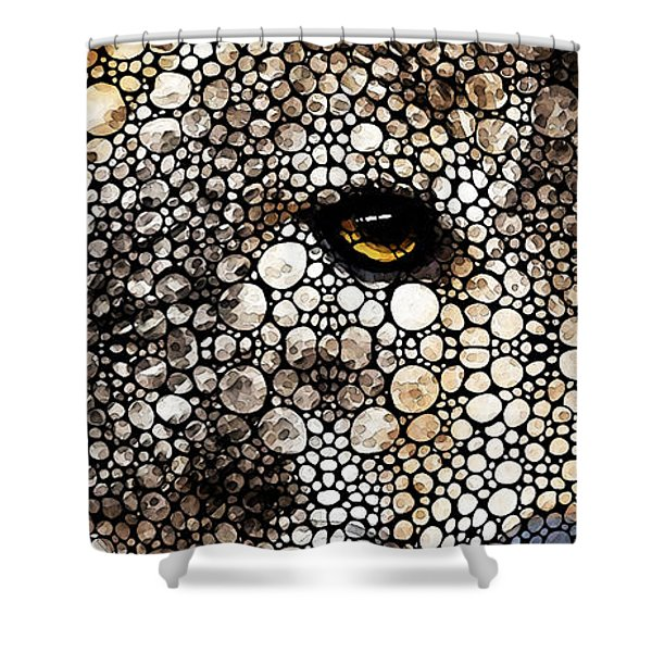 Stone Rock'd Wolf Art By Sharon Cummings Shower Curtain