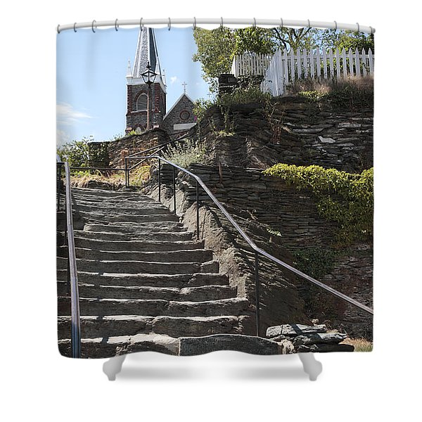 Stone Steps And Saint Peters Church At Harpers Ferry Shower Curtain