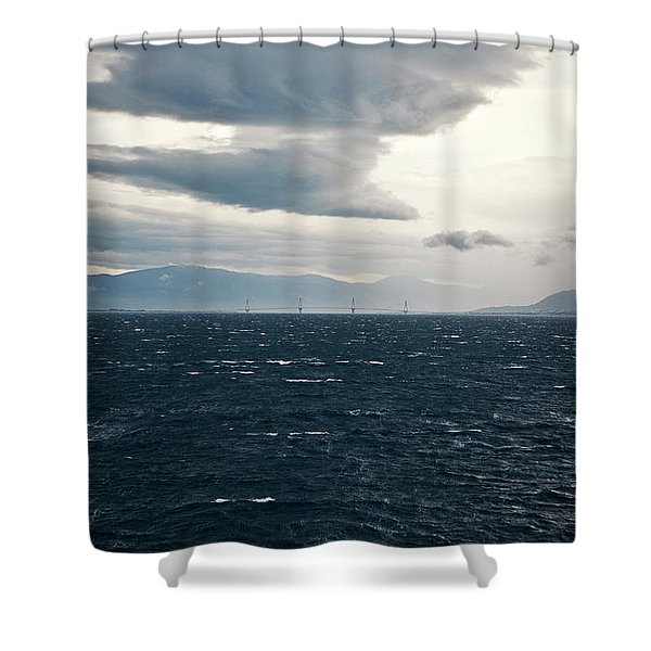 Storm Clouds Linger Over The Charilaos Shower Curtain
