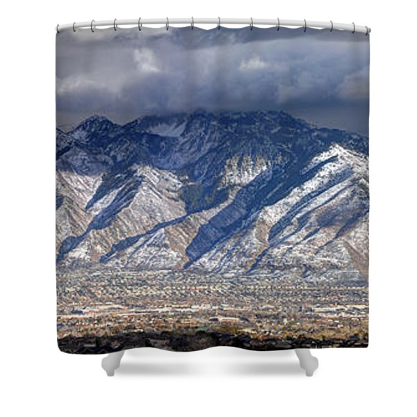 Storm Front Passes Over The Wasatch Mountains And Salt Lake Valley - Utah Shower Curtain