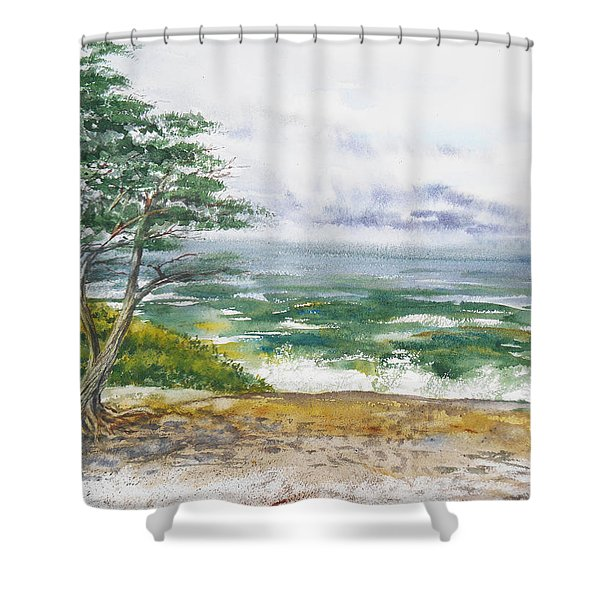 Stormy Morning At Carmel By The Sea California Shower Curtain