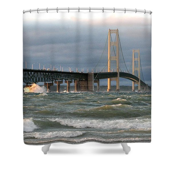 Stormy Straits Of Mackinac Shower Curtain