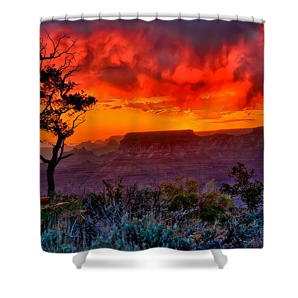 Stormy Sunset At The Watchtower Shower Curtain