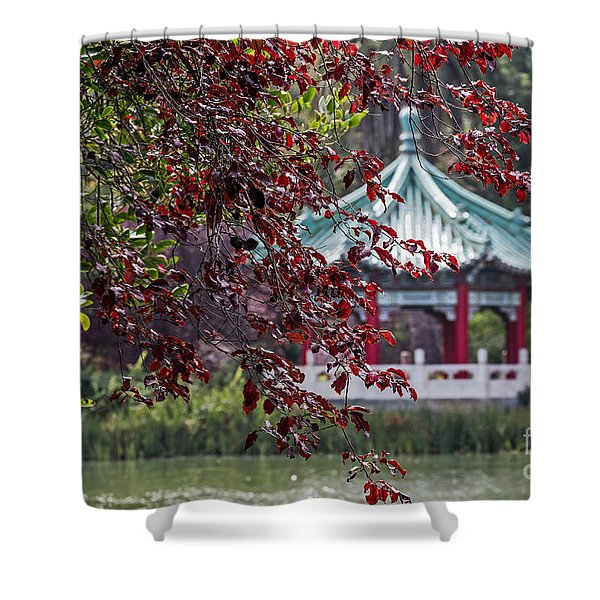 Stow Lake Pavilion Shower Curtain