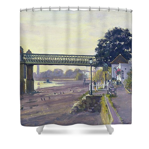 Strand On The Green Oil On Canvas Shower Curtain