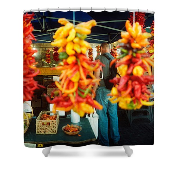 Strands Of Chili Peppers Hanging Shower Curtain