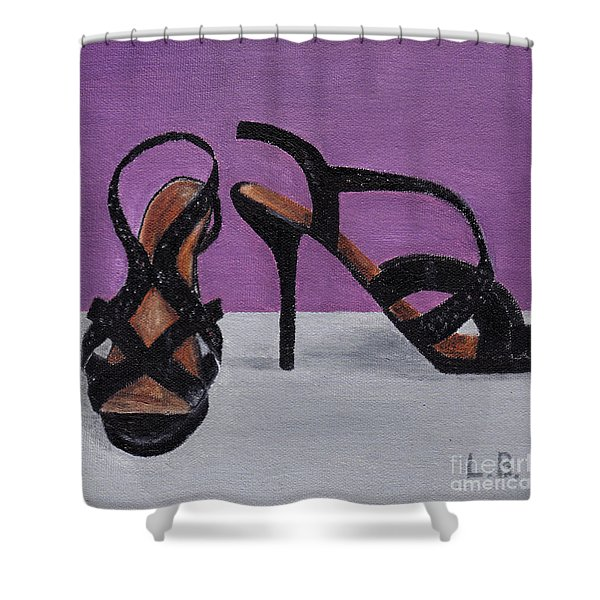 Strappy Black Heels For Maddy Shower Curtain