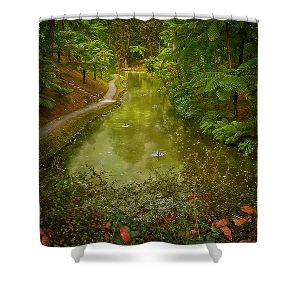Stream In Paradise Shower Curtain