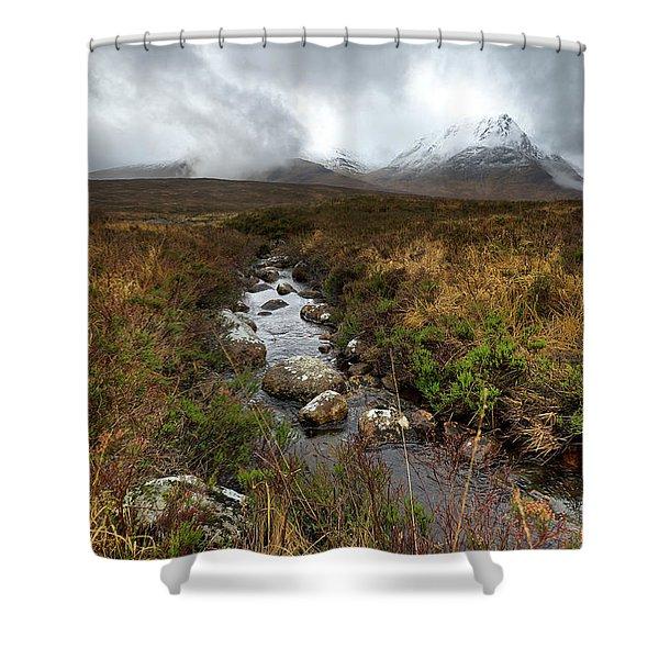 Stream On Rannoch Moor  Shower Curtain