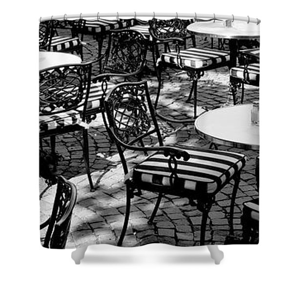 Street Cafe, Frankfurt, Germany Shower Curtain