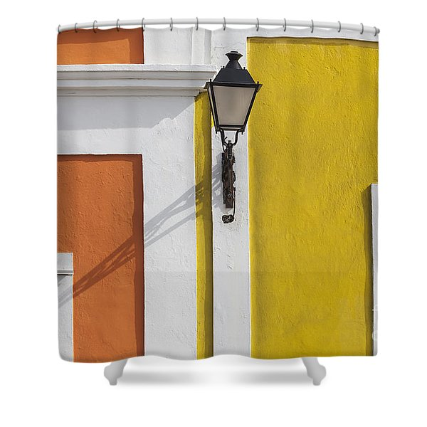 Shower Curtain featuring the photograph Street Light In Old San Juan Streetlight Puerto Rico by Bryan Mullennix