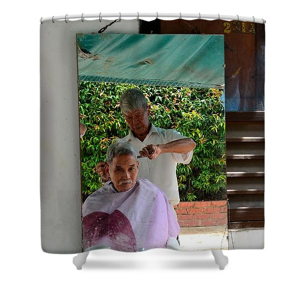Street Side Barber Cuts Client Hair Singapore Shower Curtain
