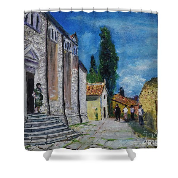 Street View In Rovinj Shower Curtain