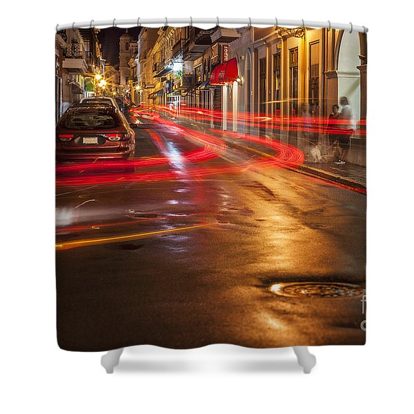 Shower Curtain featuring the photograph Streetscene At Night In Old San Juan Puerto Rico by Bryan Mullennix