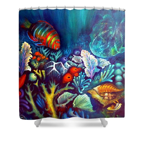 Shower Curtain featuring the painting Striped Fish by Lynn Buettner
