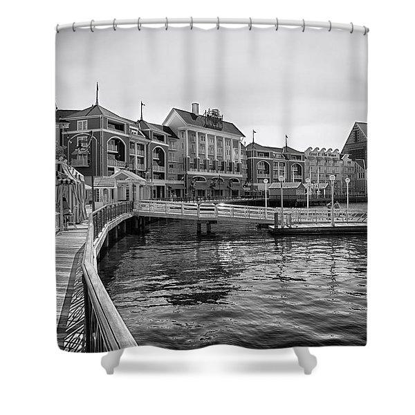 Strolling On The Boardwalk In Black And White Walt Disney World Shower Curtain