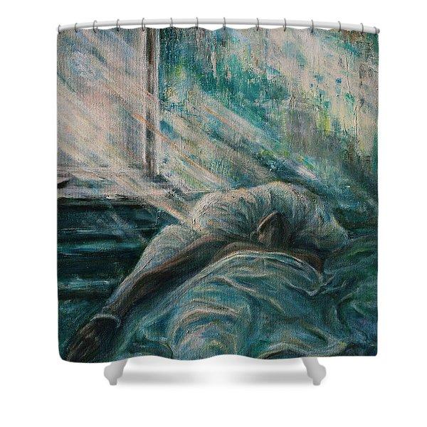 Struggling... Shower Curtain