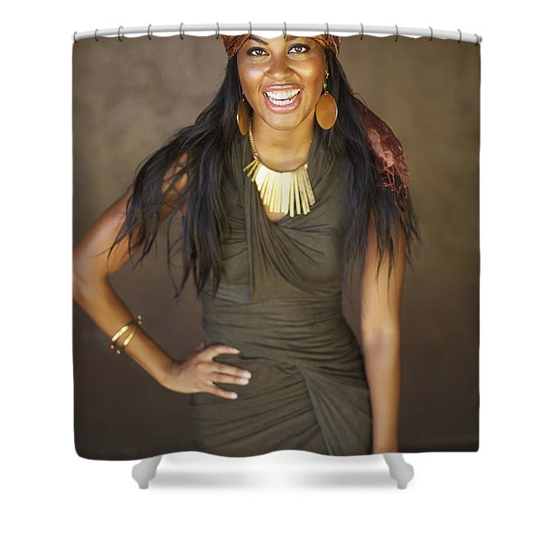 Studio Portrait Of African American Model Shower Curtain