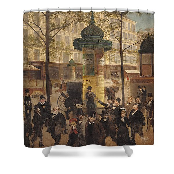Study For A Panorama Of The Boulevard De Montmartre, 1877 Oil On Canvas Shower Curtain