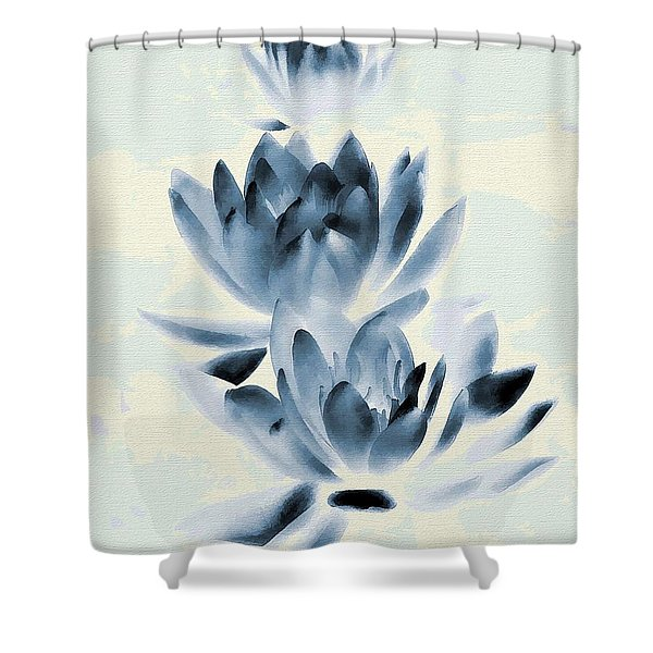 Study In Blue Shower Curtain