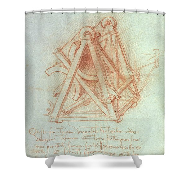 Study Of The Wooden Framework With Casting Mould For The Sforza Horse Shower Curtain