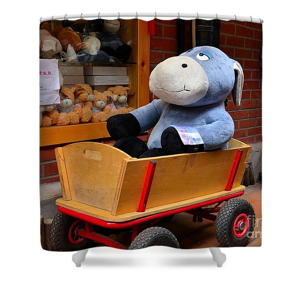 Stuffed Donkey Toy In Wooden Barrow Cart Shower Curtain