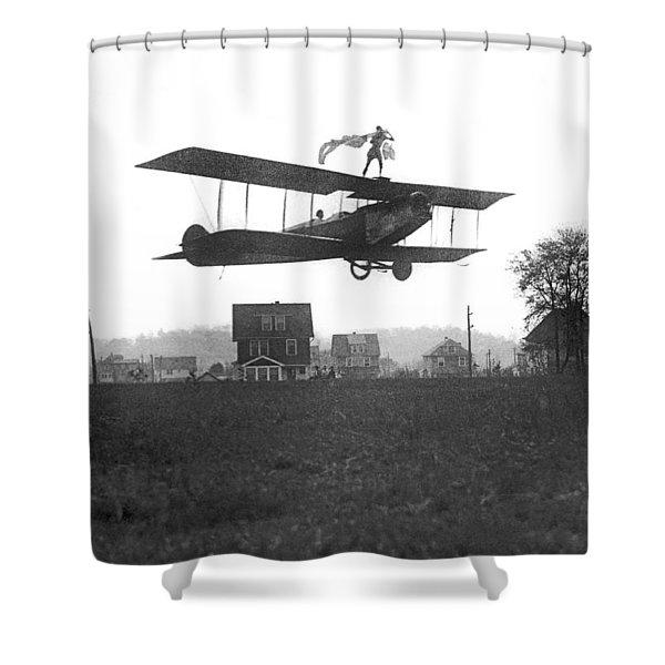 Stunts Atop A Biplane Shower Curtain