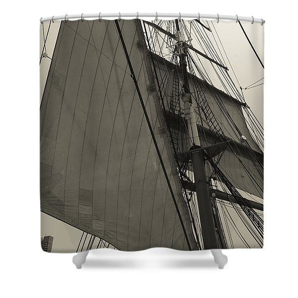 Suare And Triangle Black And White Sepia Shower Curtain