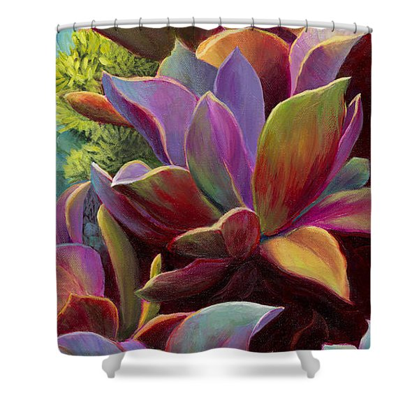 Shower Curtain featuring the painting Succulent Jewels by Sandi Whetzel
