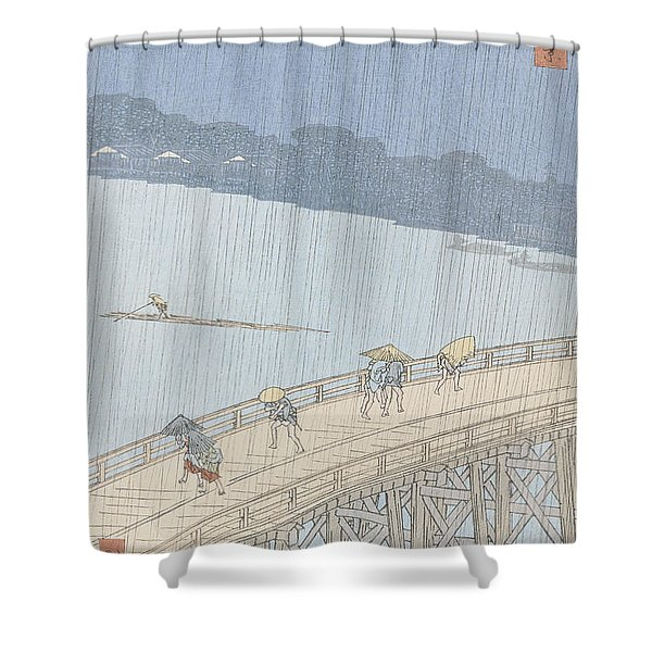 Sudden Shower On Ohashi Bridge At Ataka Shower Curtain