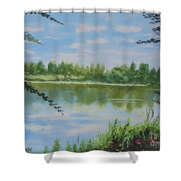 Summer By The River Shower Curtain