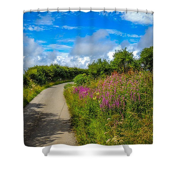 Summer Flowers On Irish Country Road Shower Curtain