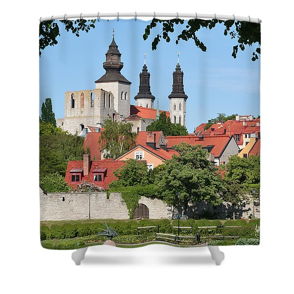 Summer Green Medieval Town Shower Curtain