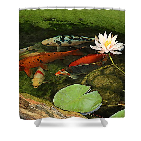 Summer Koi And Lilly Shower Curtain