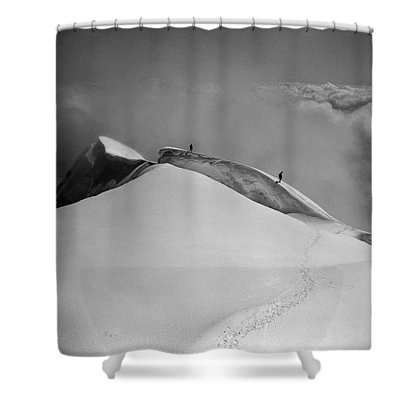 T-702412-bw-summit Of Mt. Robson Shower Curtain
