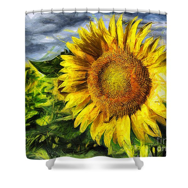 Sunflower Drawing  Shower Curtain