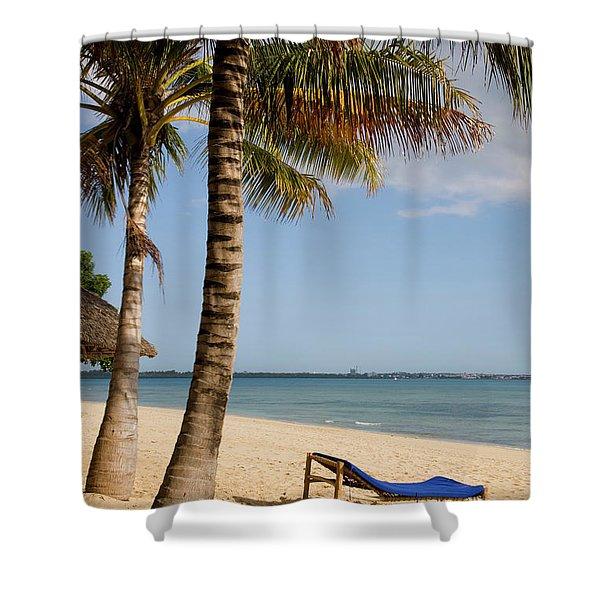 Sun Lounger, Beach And Palm Trees Shower Curtain