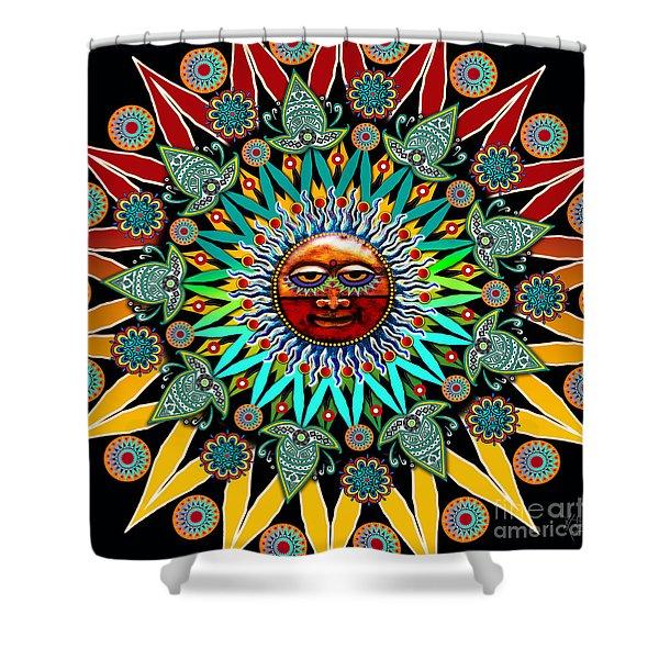 Shower Curtain featuring the digital art Sun Shaman by Christopher Beikmann