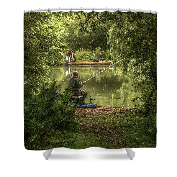 Sunday Fishing At The Lake Shower Curtain