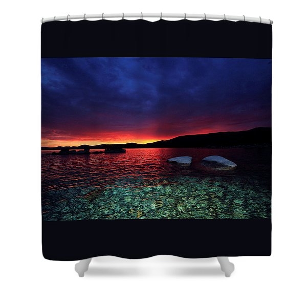 Shower Curtain featuring the photograph Sundown In Lake Tahoe by Sean Sarsfield