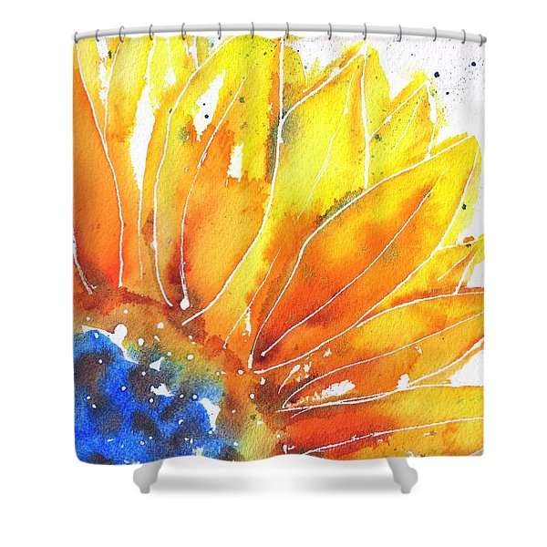 Sunflower Blue Orange And Yellow Shower Curtain