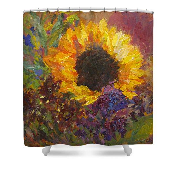 Sunflower Dance Original Painting Impressionist Shower Curtain