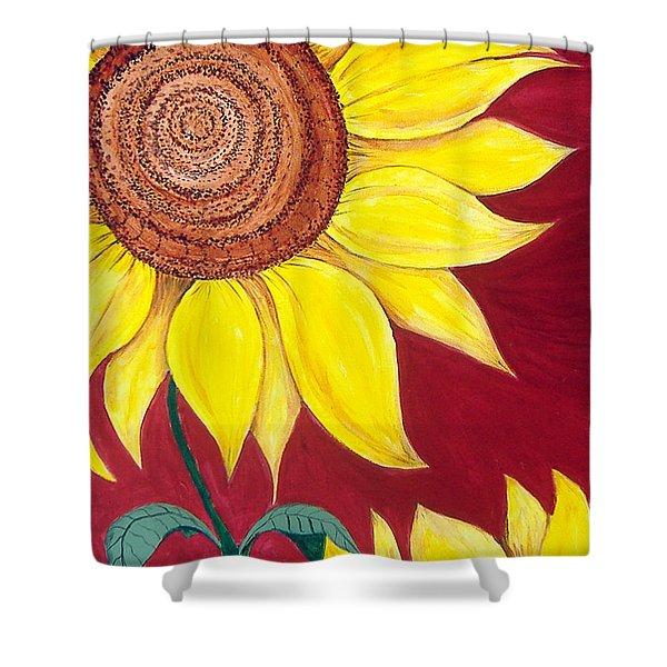 Sunflower On Red Shower Curtain