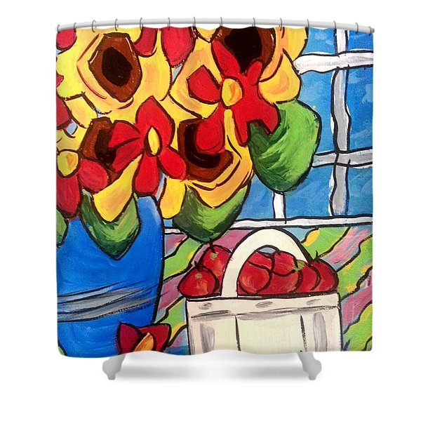 Sunflowers And Daisies Shower Curtain