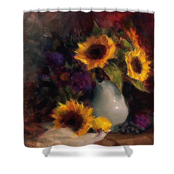 Sunflowers And Porcelain Still Life Shower Curtain