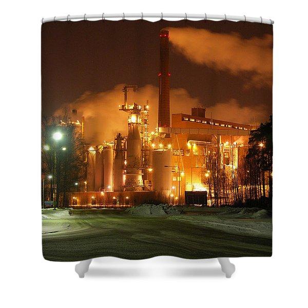 Sunila Pulp Mill By Winter Night Shower Curtain