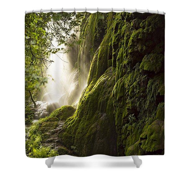 Gorman Falls Ray Of Light Shower Curtain