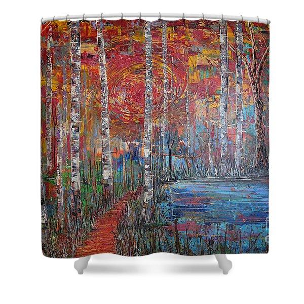 Sunlit Birch Pathway Shower Curtain